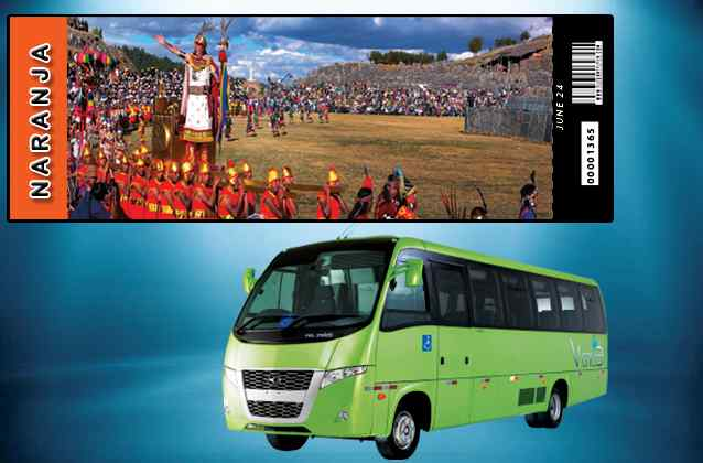 Inti Raymi 2019 ticket. Orange section + tour bus