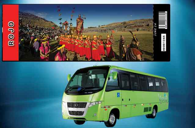 Inti Raymi 2019 ticket. Red section + tour bus
